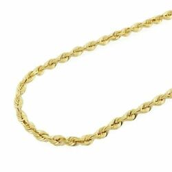 Solid 14k Yellow Gold Diamond Cut Rope Chain Necklace 20-30 2mm-7mm