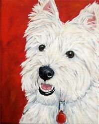 West Highland Terrier ACEO WESTIE PRINT Painting BRIGHT EYES Dog Art RANDALL
