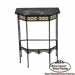 1930s Bronze And Iron Marble Top Console W/ Mirror Possible Oscar Bach