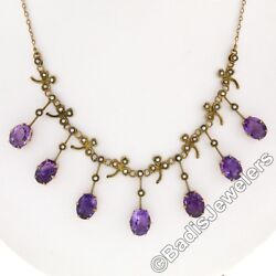 Rare Antique Victorian 14k Gold 14ct Oval Amethyst Pearl Fringe Collier Necklace
