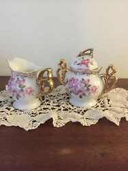 Lefton Hand Painted China Creamer And Sugar Bowl Sl6319 With 24k Gold Trim