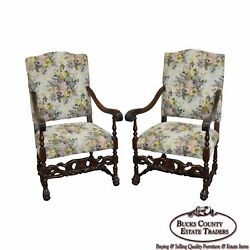 Antique Pair Of French Louis Xiii Style Carved Walnut Throne Chairs