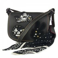 Coach  Mickey mouse patchs patchwork studs bandana leather diagonal shoulder
