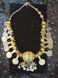 Moroccan Berber Enameled Egg Necklace With Amber Early 20th Century.andnbsp