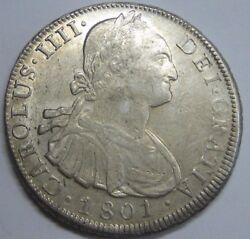 1801 Potosi 8 Real Charles Iv Bolivia Mint Spanish Colonial Silver Spain