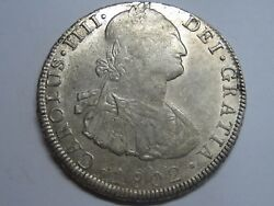 1802 Potosi 8 Real Charles Iv Bolivia Mint Spanish Colonial Silver Spain