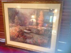 Antique 1900's Water Painting. Signed. Beautiful Chinese Water Garden