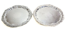 Pair Of Poole Silverplate Footed Trays 16.5 Hand Engraved Floral Design Shell