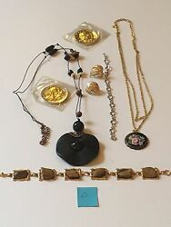 Vintage Costume Jewelry Lot Necklace Coro Earring Bracelet Coin