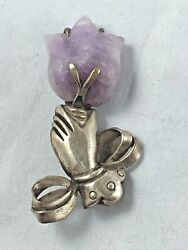 Wm Spratling Sterling Silver And Purple Quartz Hand Holding Flower Pin/brooch