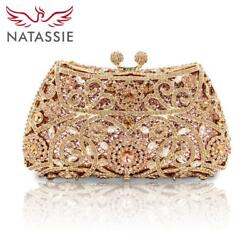 NATASSIE Women Evening Bags Ladies Wedding Party Bag Crystal Gold Clutch Diamond