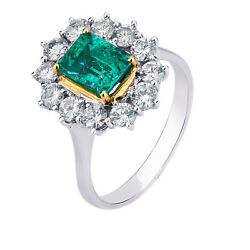 18 kt whiteyellow gold natural emerald and natural diamonds ring Made in Italy