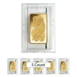 Lot of 5 - 10 oz PAMP Suisse Lady Fortuna Gold Bar .9999 Fine (In Assay)