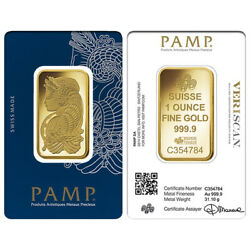 Lot Of 2 - 1 Oz Gold Bar Pamp Suisse Lady Fortuna Veriscan .9999 Fine In Assay