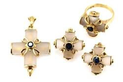 Lalaounis 18k Gold Suite Earrings Pendant And Ring Rock Crystal Sapphire Cross