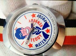 1970's Teddy Kennedy Red White And Blue Manual Dial Watch Water Proof Very Rare