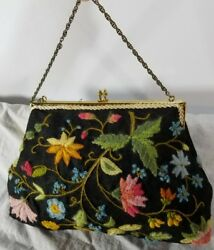 Vintage Floral Black Embroidered Tapestry Purse Clutch Gold and Black Tone Chain