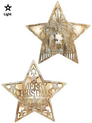 Wooden Light Up Cut Out Star Christmas Decoration Picture Pre Lit LED Nordic