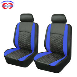 Car Seat Covers Pu Leather Universal Embroidery 2 Front Seats,blackandblue