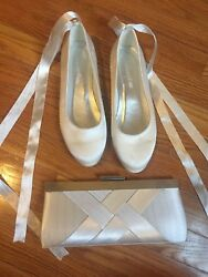 Bridal Lot Wedding 8.5 Shoes Ballet Shoes And Purse Charming Charlies