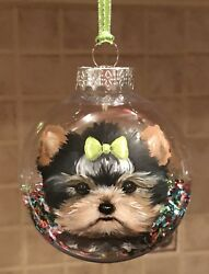 Hand Painted Art Yorkshire Terrier YORKIE puppy dog Christmas Ornament