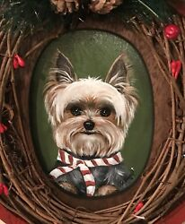 Hand Painted Art Yorkshire Terrier YORKIE dog Christmas Sign wreath
