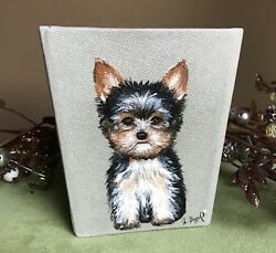 Hand Painted Art Yorkshire Terrier YORKIE dog Pencilpen holder