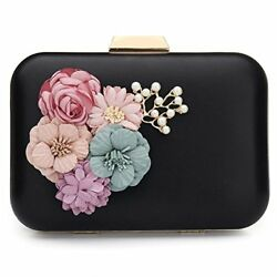 Luxurious Woman Clutch Evening Bag Satin Flower Pearl Beaded Gift For Wife Girl
