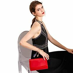 Woman Leather Purse Clutch Evening Bag Detachable Strap Gift For Wife Girl Red