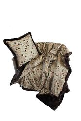 Luxurious Throw New 100 Silk And Faux Fur Throw And Pillow Set