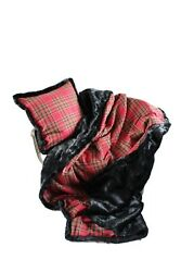 Luxurious Throw New 100 Wool Plaid And Faux Fur Throw And Pillow Setandnbsp