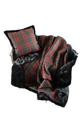 Luxurious Throw 100 Wool Plaid And Faux Fur Throw And Pillow Set New