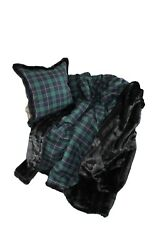 Luxurious Throw 100 Wool Plaid And Faux Fur Throw And Pillow Set New Beautiful