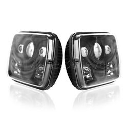 2x Universal Fit 7''x 6'' 80W Square High Low Beam CREE LED Projector Headlight