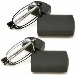 Doubletake Metal Compact Folding Reading Glasses With Carrying Case 2 Pair