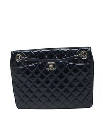 Chanel A94026 Blue Quilted Patent Leather Tote