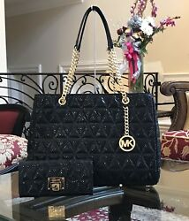 NWTMICHAEL KORS LARGE SUSANNAH LEATHER QUILTED CHAIN HANDBAG+WALLET SET $820.00