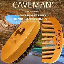 Handcrafted Natural Fine Tooth Wooden Beard Comb + Beard Brush By Cavemanandreg
