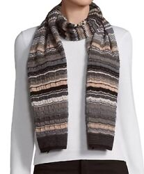 Missoni Black White Gray And Brown Zig Zag Striped Long Scarf Nwt