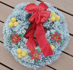 Vintage Bottle Brush Flocked Wreath W Flocked Fruit And A Red Bow 20 50s-60s