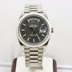 Rolex 40mm Day Date 228239 White Gold Rhodium Tapestry Dial Rolex Box