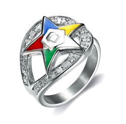 Masonic Rings Ebay Order Of The Eastern Star Ring Silver Color Loop Cz Oes Rings