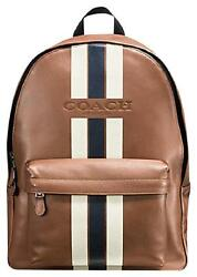 NEW COACH Men's white Striped Leather Laptop Travel work Backpack large vintage