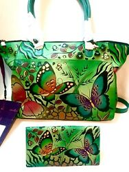 NWT Anuschka Green Leather Summer Wings XL Set w Matched Full Sz Tri fold Wallet
