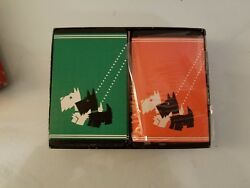 Vintage Scottie Scottish Terrier Dog Bridge Playing Cards 2 Decks Gibson in Box