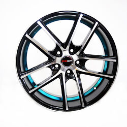 Set of 4 GWG Wheels 18 inch Black Blue ZERO Rims fits 5x115 ET40 CB74.1
