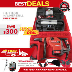 Hilti Te 60 Hammer Drill W/ Motorized Rotary Laser Levelfree Bits And Chisels
