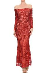Valentine Off Shoulder Red Sequin Dress Gown Maxi Party Pageant Special Occasion $29.99