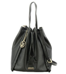 Armani Jeans 9222860020 Bucket bag for women in black eco-leather