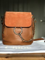 Faye Backpack Tobacco Leather With Persimmon Suede Flap